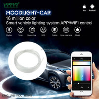 Moodlight-Car APP control car interior LED waterproof smart fiber optic light, 12V RGB