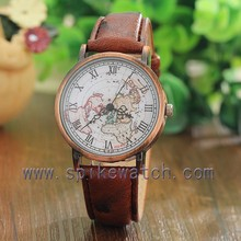 Factory wholesale custom unisex map dial retro look vintage watch