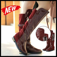SW12014 2013 new winter Europen bright PU leather boots high tube flat-bottomed fashion sexy ladies boots