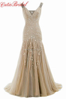 Stunning V Neck Sheath Party Dress Tulle Skirt Beaded Embroidery Evening Dresses