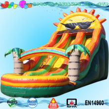 22ft rainbow outdoor inflatable climbing water slide with pool sun drop