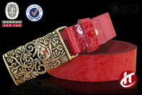 High quality embossing machine ladies full grain genuine leather belt