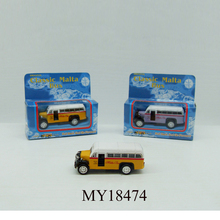 6cm scale model toy bus metal toy pull back mini bus