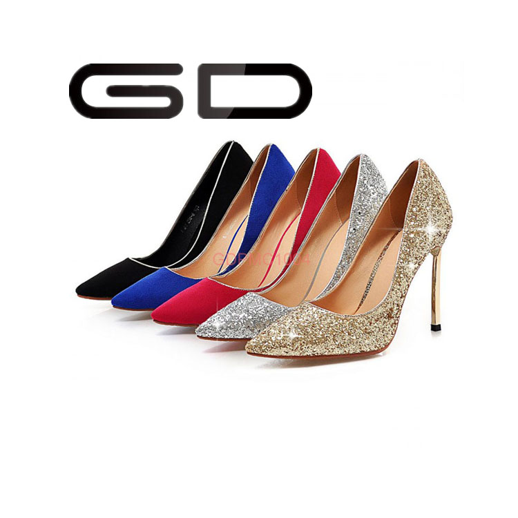 Cheap price gold silver dazzling ladies high heel evening party dress shoes