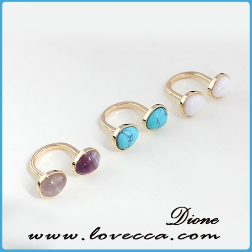 Distinctive Unclosed Ringent Young Ladies Gemstone Finger Rings with Europe Fashion Element