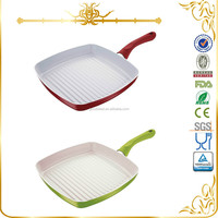 Square Metallic paint frying pan with ceramic coating inside MSF-L6174