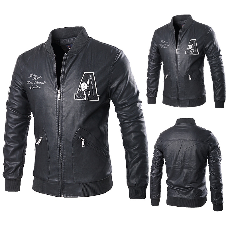 Men's Live Handsome Balck Windbreaker Norway Leather jacket