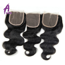 Free Style/Part Silk Base Closure Brazilian/Peruvian/Malaysian/Indian Virgin Hair Body Wave Silk Top Lace Closure 4X4