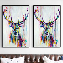 GUVIVI Oil painting for kids room beauty colorful bedroom Cavas for painting elk Canvas oil painting