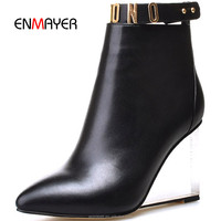 Ladies spring black genuine leather pointed toe ankle boots with zip comfort hand made crystal high heel boots wholesale