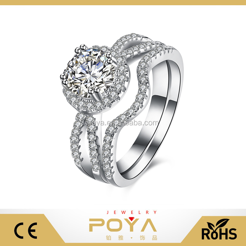 POYA Jewelry 925 Sterling Silver Round Cut Diamond Simulant Engagement Ring Set