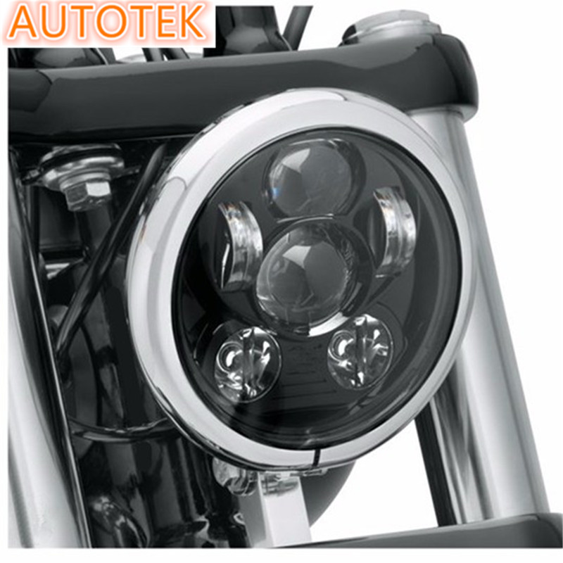 "Black Projector Daymaker LED Light Headlight For Harley Davidson 5-3/4"" 5.65 inch"