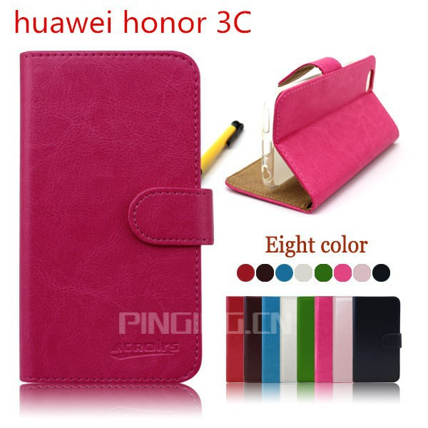 high quality wallet leather flip cover case for huawei honor 3c, for huawei honor 3c case