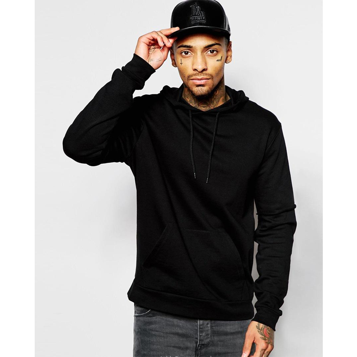 Bulk Hip Hop High Quality Wholesale Custom Cotton Slim Fit Men Fashion Plain Black Hoodies