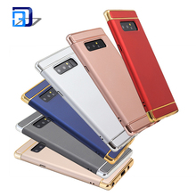 Luxury Accessories electroplating 3 in 1 Phone Case for Samsung Note8 Case PC Hard Protective Mobile Phone Back Cover
