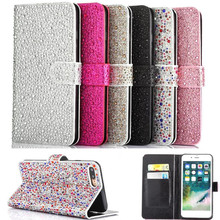 New Arrivals Glitter Diamond Magnet Flip Leather For iPhone Case Wallet
