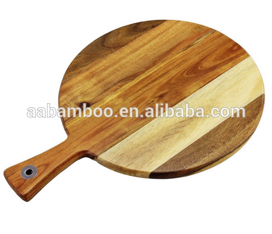 Round Acica Wood Pizza chopping board with long Handle
