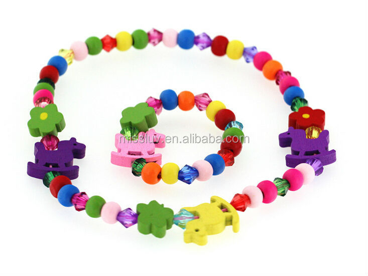 high quality horse flower wood space beaded jewelry set for kids