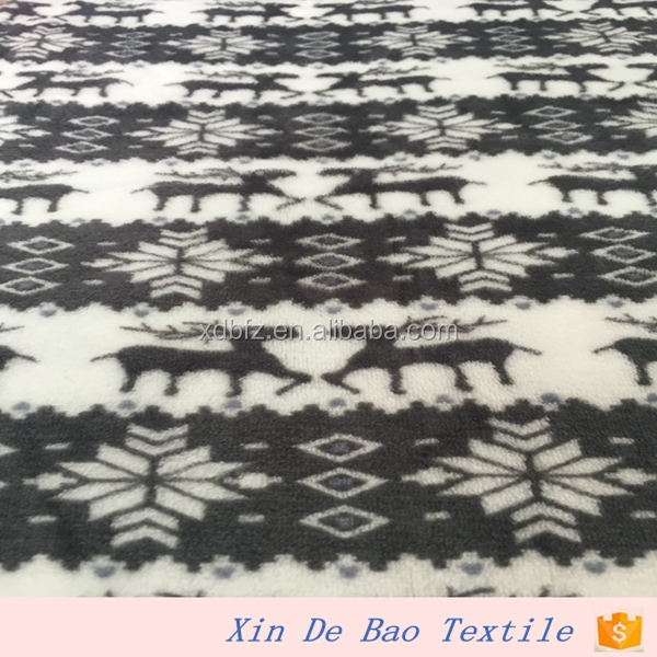 100% Polyester sika deer printed Flannel Fabric