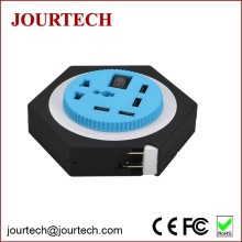 4 USB Port Multi-function Smart Portable Mobile Phone Charging Unit with 1 Worldwide Rotatable Socket