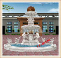 Landscaping Marble Stone Rolling Ball With Lion Fountain