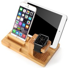 Charging Dock Station Charger Bamboo Cradle Holder Stand For Apple Watch iPhone 6 6 Plus 5 5S 5C