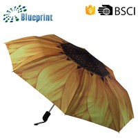 "21"" 8 Ribs Most Popular Automatic Umbrella Mechanism With Flower Design"