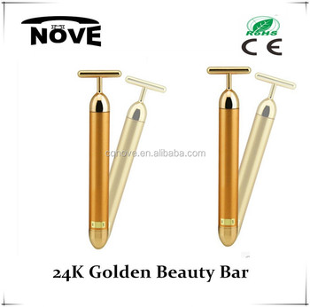 2018 facial personal massager Y Shape 24k Golden Vibrating Beauty Bar solar energy beauty bar for Wrinkle Removal machine
