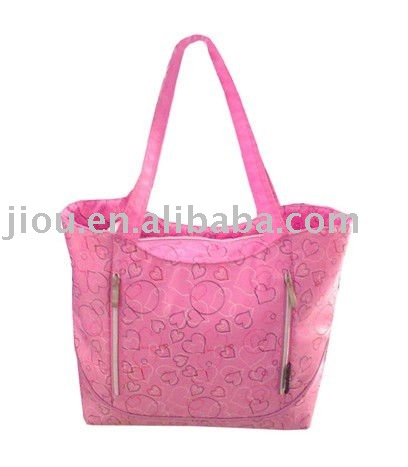 cute pink reusable promotional shopping bag