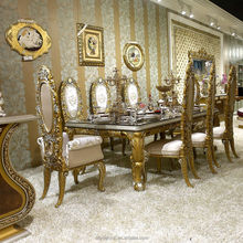 AA33- Fancy Dining Table With Chairs For 8 People/ European Classic Golden Carving Dining Room Furniture