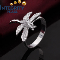 new desgin dragonfly silver plated diamond of gift jewelry ring for women