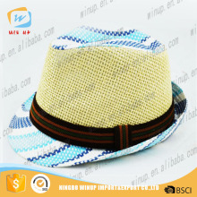2016 Striped Women Men Fedoras Straw Caps Solid Dress Hats Stylish Beach Sun Panama