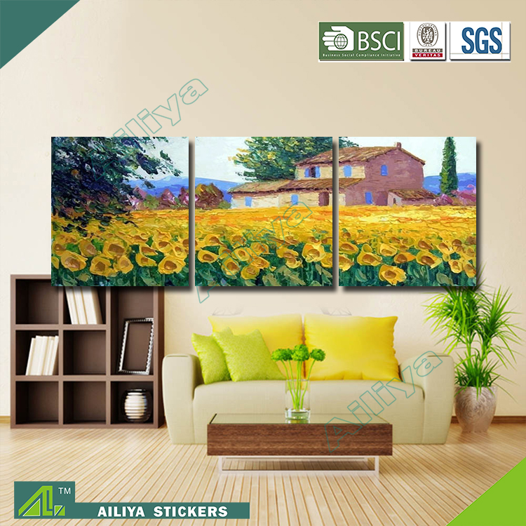 Home decor hotel wall art customized diy modern three panel waterproof beautiful glass painting pictures of flowers