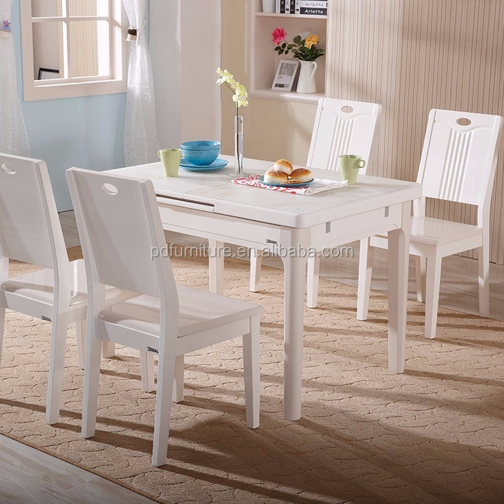 Best price dining table solid wood movable glass top table furniture