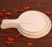Custom Wooden Chopping Board Set Food Grade Bamboo Meat Cutting Board, Round Pizza Chopping Block