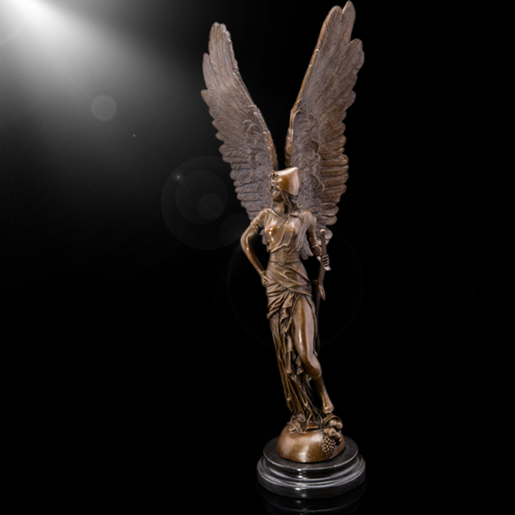 home and hotel decoration bronze western figure brass sculpture goddess statue with wing