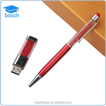 Wholesale gift item crystal ball pen brand logo advertisment touch screen promotional pen set with usb flash drive