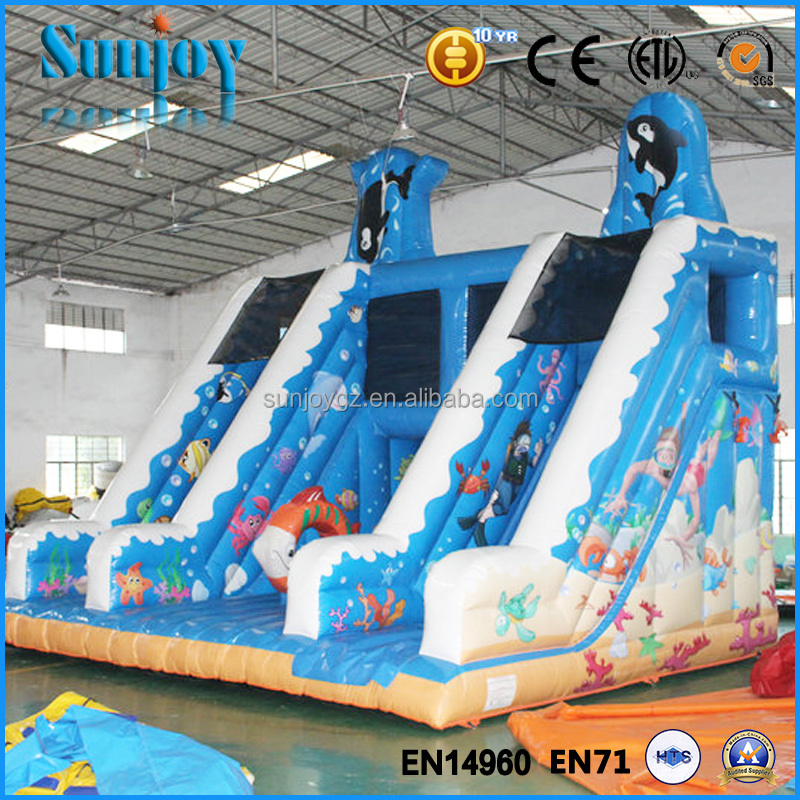 Dolphin slide jumping castle giant inflatable slide for sale