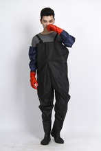 Adult fashion PVC rain coat/waterproof jacket/rubber fabric wader pants