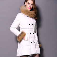 Wholesale Canada Women Winter Goose Feather Down Jacket with Fur Trim Collar and Cuff