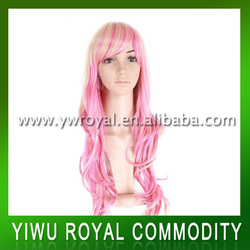 Hot Sale Cosplay Long Pink Synthetic Full Lace Wigs