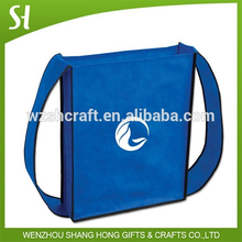Fashion School Bag /promotional custom logo pp book bag/blue non woven shoulder bag for students