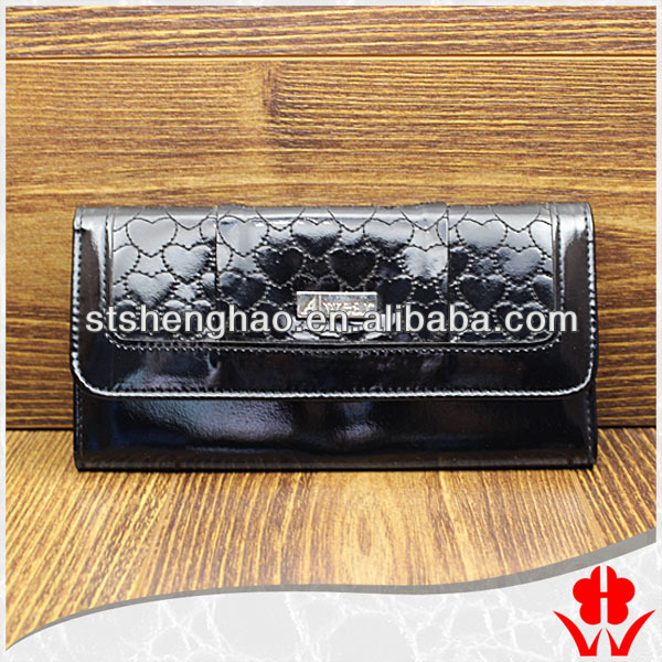 Black leather womans wallets lady purse with credit card holder