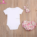 0-2 Years Baby Girls plain short sleeve Romper Fancy stretch knit cotton baby rompers + satin floral bloomer 3 pcs clothing set