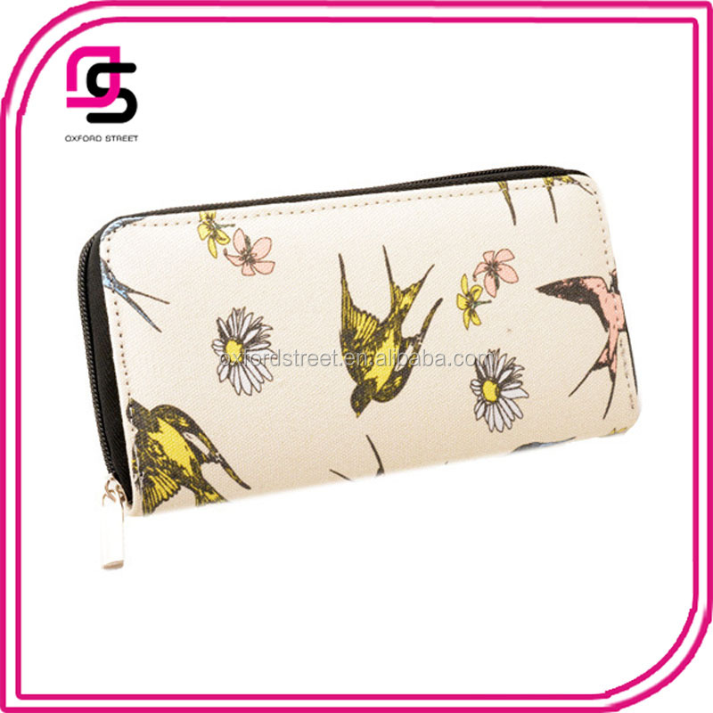 swallow flower printed long canvas zipper clutch wallet