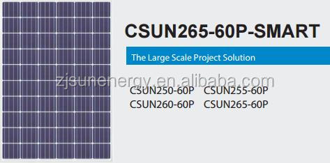 60 Cell famouse CSUN CSUN265-60P-SMART poly 255w solar panel WITH FULL CERTIFICATE