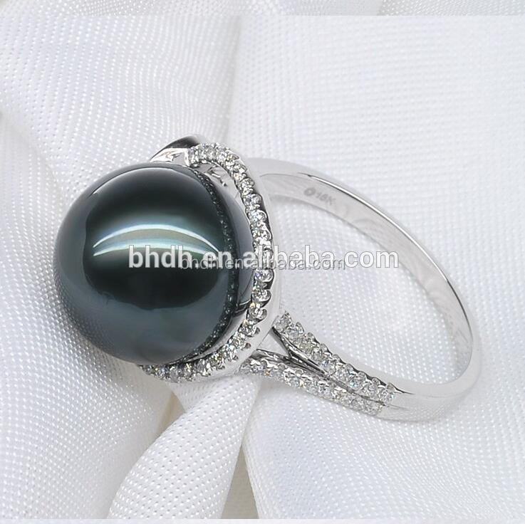 Pearl Ring Sterling Silver black pearl engagement rings