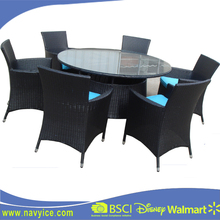 Modern Used patio wicker Rattan Round garden dining furniture outdoor PE wicker garden dining table and chair