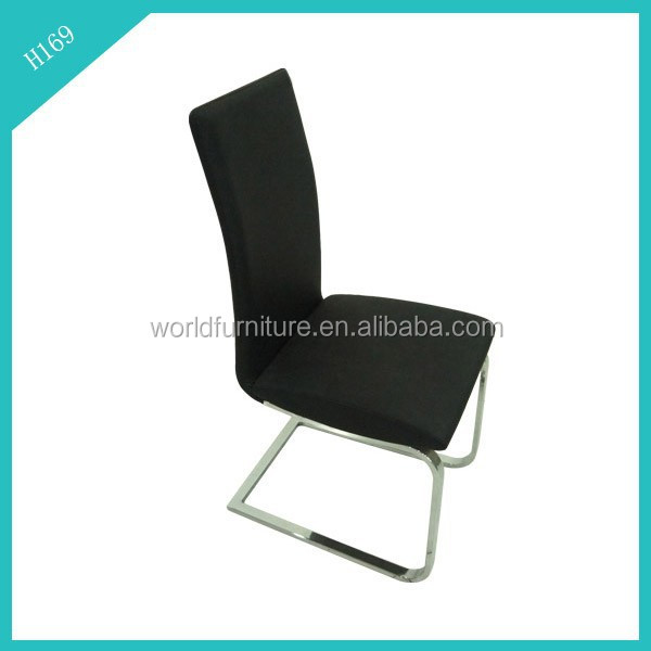 black PU black leather chrome dining chair