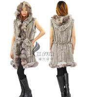 CX-G-B-166A Natural Color Knitted Real Rabbit Fur Womens Vests